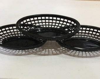 Black Food Baskets, Food Tray, Party Baskets, Use for Party, Picnic, BBQ, Events