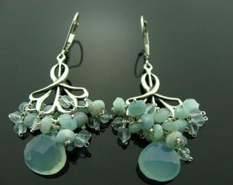 Aqua Blue Chalcedony Larimar Aquamarine Chandeliers Sterling Silver Earrings