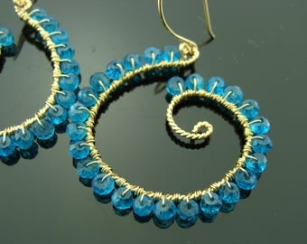 Blue Quartz Hoops 14K Gold Filled Gemstone Earrings
