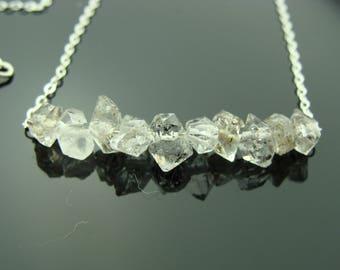 Herkimer Diamond 14k Gold Filled or 925 Sterling Silver Bar Necklace