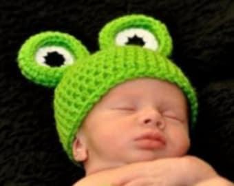 Crochet Pattern Frog Baby Hat