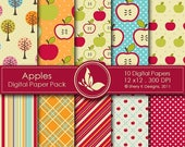 40% off Apples Paper Pack - 10 Digital papers - 12 x12 - 300 DPI