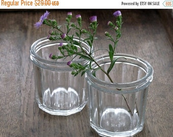 set of 2 antique french jam jars, very thick and faceted,vintage jelly jar, jam pots, jelly jar glasses