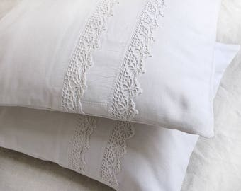 16x16 cushion cover in antique French linen  and  lace , shabby chic white pillow cover