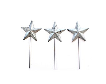 4th of July Decor . Metal Stars Picks . Star Cupcake Toppers . star cake topper . cupcake decor . dessert table decor . silver cake topper