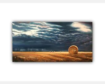 Original Oil WHEAT FIELD STORM  OilPaintingOnCanvas  field wheat sky #clouds Canvas hay bails #autumn #landscape #golden #storm #signed
