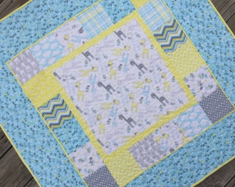 Baby Boy Complete Quilt KIT Grey And Yellow Giraffes