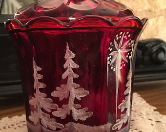 Ruby red glass candy jar fenton winter hand painted