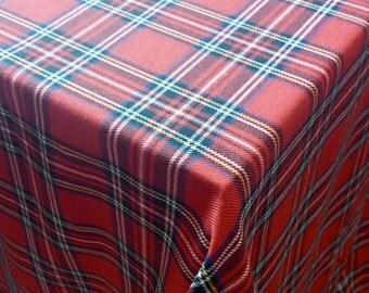 Christmas Tablecloth   Plaid , Tartan, Check, Red , Black, Gold, White