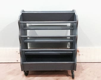 Charcoal Quilt Rack | Rolling Cart | Cottage Style | Vintage | Shabby Chic | Distressed