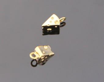 Wholesale Pendants, Shiny Gold Piece of Cheese Charms/ Pendants/ Connectors, 2 pc, SW83774