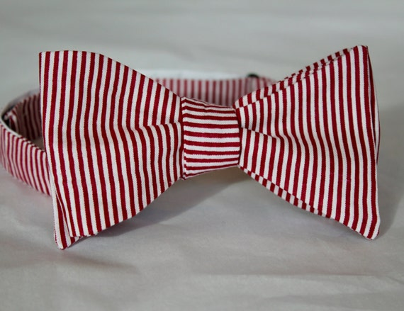 Red and White Christmas Tiny Stripe Bow Tie - clip on, pre-tied adjustable strap or self tying