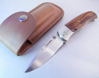 Custom Linerlock Knife SHIPS IMMEDIATELY Custom Folding Knife Desert Ironwood Handle Custom Leather Sheath