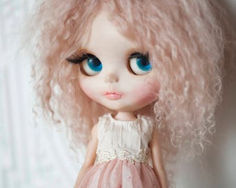 Light Dusty Pink Tibetan Mohair Wavy Wig for Blythe (Non-Elastic Size)