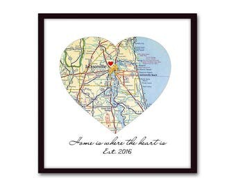 Home is Where the Heart Is, New Home Housewarming Gift, First Home Heart Personalized Map New House Gift, New Homeowner Realtor Closing Gift