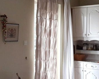Ruched Curtain French Country Beach Cottage Chic Linen Rustic French Door  Window CURTAIN Panels Oatmeal