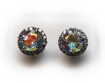 Sterling Silver 8 mm Irridescent Topaz Stud Earrings with Diamond Like Accent