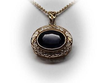 10 K Yellow Gold Dark Blue Sapphire Pendant