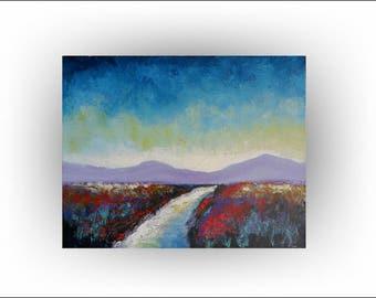 Modern Landscape Painting Field Mountain Art -My Destiny 2- 16 x 20 - by Skye Taylor
