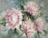 """Peonies flowers paintings pink flowers Oil original floral painting 24 x 30"""""""
