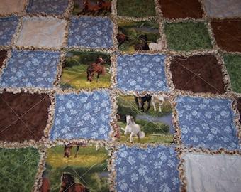 Rag Quilt - Horse Rag Quilt - Lap Quilt - Horse Crib Rag Quilt - Horse Crib Quilt - Patchwork Rag Quilt - Horse Quilt