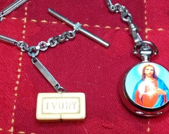 Time To Get Clean With Jesus Watch and Vintage Ivory Soap Watch Chain
