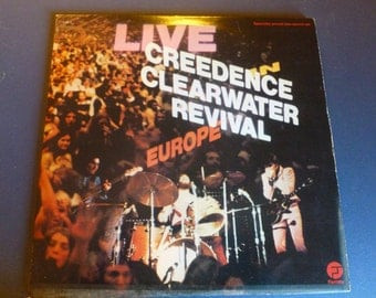 Creedence Clearwater Revival Live Europe Vinyl Record CCR-1  Double Album Fantasy Records 1973