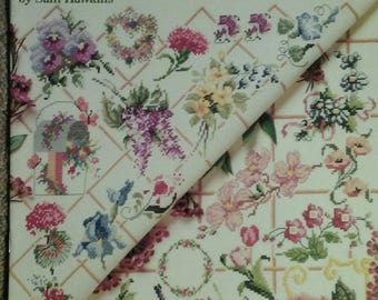 50 Floral Designs, Counted Cross Stitch, Sam Hawkins, 17 Page Book, American School of Needlework, OFG