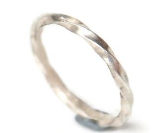 Twisted Silver Ring or Wedding Band - Thin, Delicate