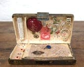 French Compact altered art assemblage BEST FRIENDS collage tin