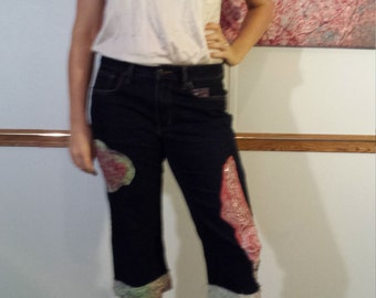 Pink Roses Angel Wings and Great Love Patched Jean Capris
