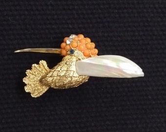 Vintage Boucher Hummingbird mother of Pearl the Orange Bead Brooch