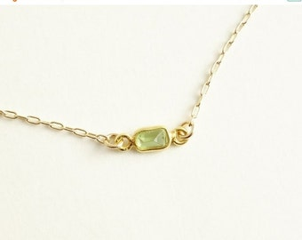 SALE - GIFT Peridot  Necklace in gold filled chain, tiny small baguette cut peridot gemstone bezel necklace green