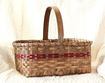 Large Market Basket w/ Solid Oak Handle red