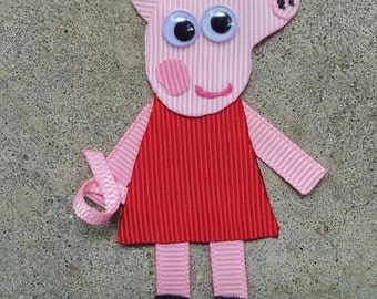 Pink Girl Pig Ribbon Sculpture Hair Clip