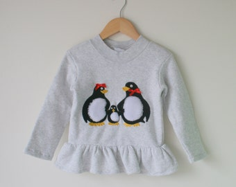 Vintage PENGUIN Sweater....size 4 girls...sweater. bright. urban. kitsch. retro kids. 1980s. pretty me. arctic. fall. winter. kawaii. cute.
