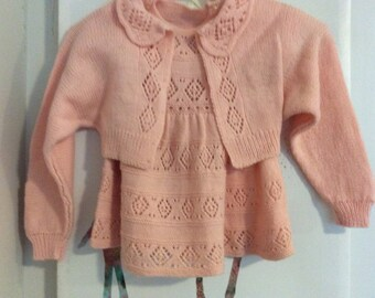 Vintage hand knit girls pretty set .