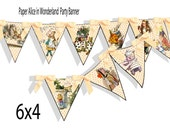 printable Alice In Wonderland bunting,banner,  flag printable  in beautiful peach and rose colors, great wedding, babyshower, or birthday