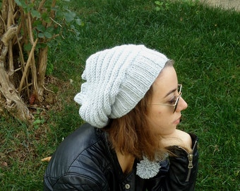 Hand Knit LIGHT GRAY  Slouchy BEANIE,cowl,2 in 1,womens hat,unisex,scarf,pompom,teenage