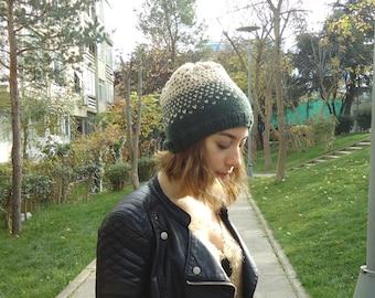 HAND KNITTED Beige Army Green hat,slouchy beanie ,unisex beanie