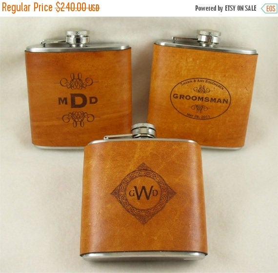 ON SALE Groomsmen Flasks with Hand Dyed Engraved Leather Wrap - set of 12