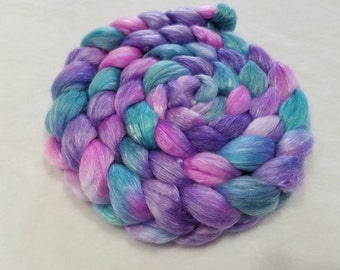 Merino/Tencel Roving - 50/50 - 4 oz - Purple, Pink and Aqua