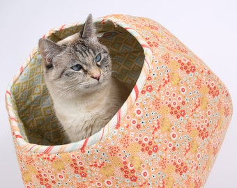 Woodlands Flower and Geometric Cat Ball kitty bed - a Modern Pet Bed in made in Riley Blake Fabrics - Cat Cave made in Washington USA