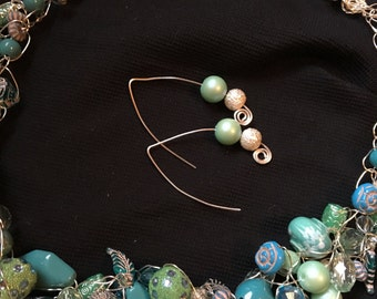 Shades of aqua wire crochet necklace and matching earrings