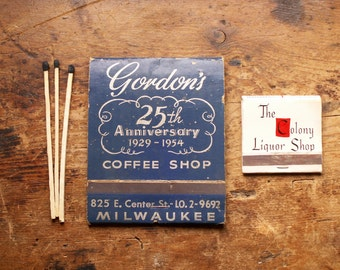 Vintage Extra Large Advertising Premium Matchbook - Gordon's Coffee Shop, Milwaukee, Wisconsin