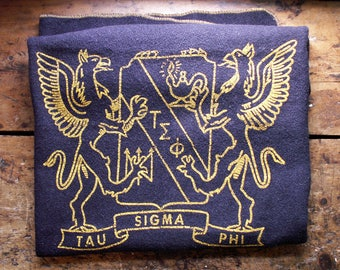 Vintage Navy Sorority Wool Stadium Blanket - Tau Sigma Phi Lap Throw
