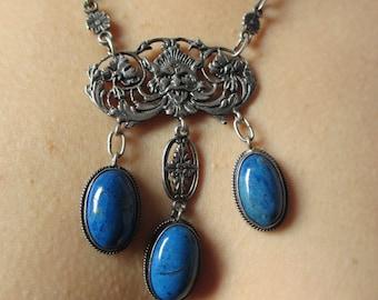 Antique Vintage Blue Lapis Gothic Demons Necklace  Peruzzi