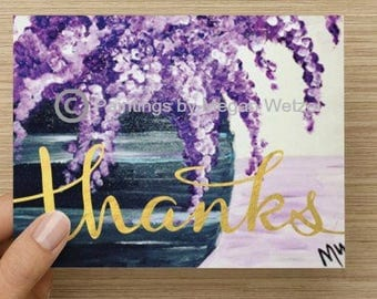 "Lilac Thank You Horizontal Folded Note Card - 5.5""x4"""