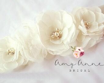 Ivory Wedding Sash, Bridal Sash, Ivory Floral Bridal Sash, Ivory Chiffon Bridal Belt, Wedding Sash - Amsale Inspired Ivory Bridal Sash