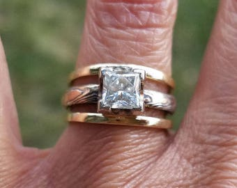 stacking Moissanite solitaire princess with rustic handcrafted Mokume Gane bridal set